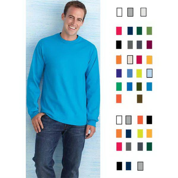 Long sleeve T-shirt, 10.1 oz. 100% Preshrunk Ultra Cotton (TM) jersey. Double needle topstitched neckline. Taped neck and shoulders. Double stitched waist hem. Quarter turned body. Blank products only. Case pack of 6 dozen.