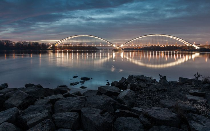 Toruń, Poland. Elżbieta Zawacka Bridge over the Vistula River in Toruń (4 100 m, 540 m - main span).
