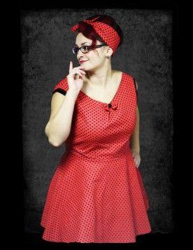 Rockabilly šaty, červenočerný puntík. Půl kolová sukně a projmutý střih krásně zdůrazní pas. Šaty vám zhotovíme na míru.