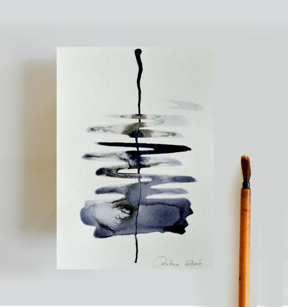 River - A6 abstract ink painting-water river blue grey nature movement art cascade ink art by Cristina Ripper