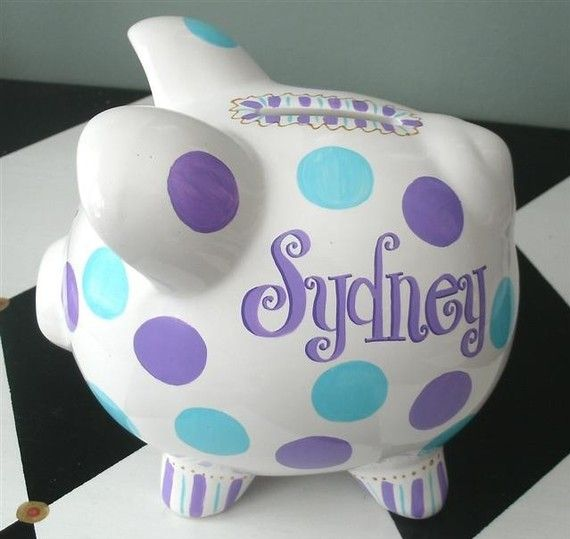 Funky Dots Personalized Piggy Bank Piglet Size by PreppyPiggy, $14.00