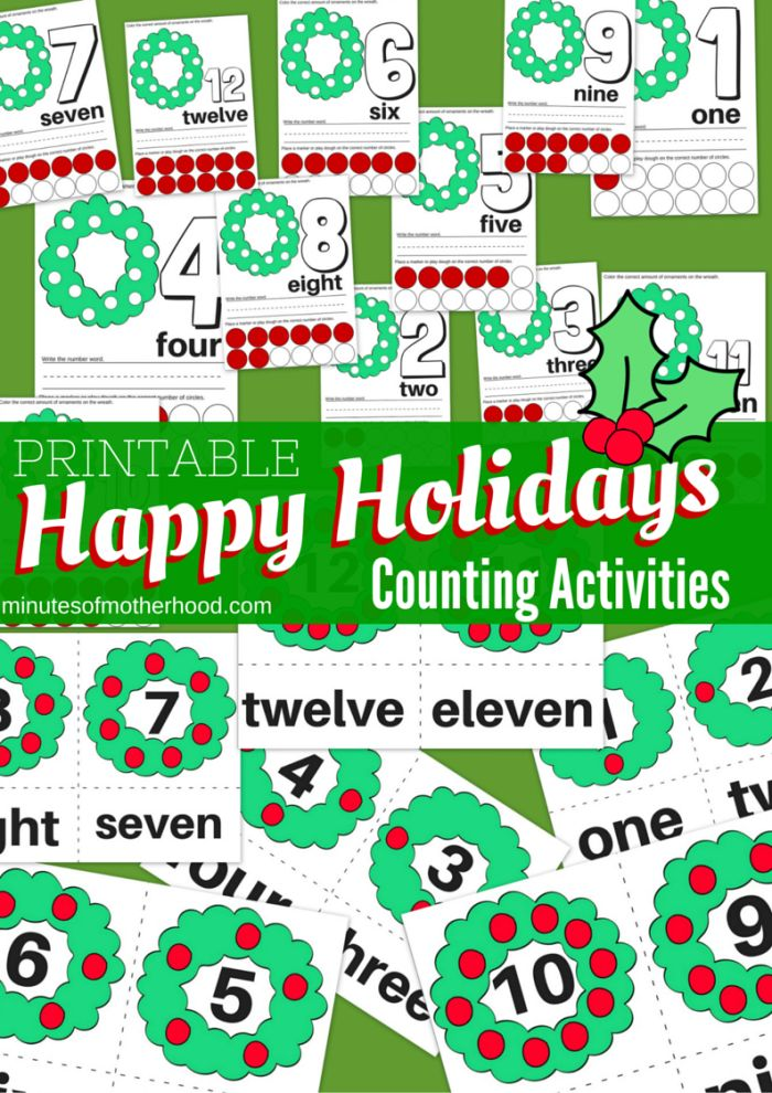 happy holiday wreath counting fun printable preschool counting activity activities the o. Black Bedroom Furniture Sets. Home Design Ideas