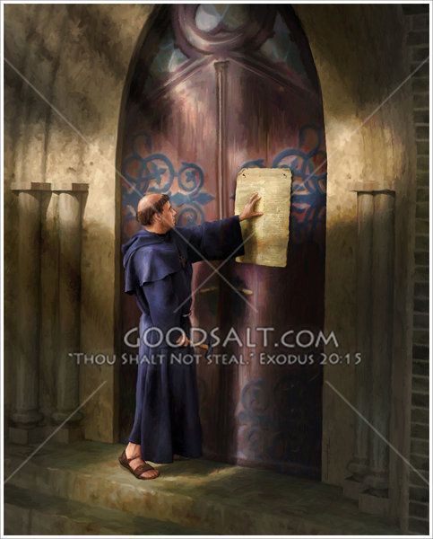 Martin Luther nailing his 95 Thesis to the Wittenberg church door. The scene is illumintaed with a cross of light.