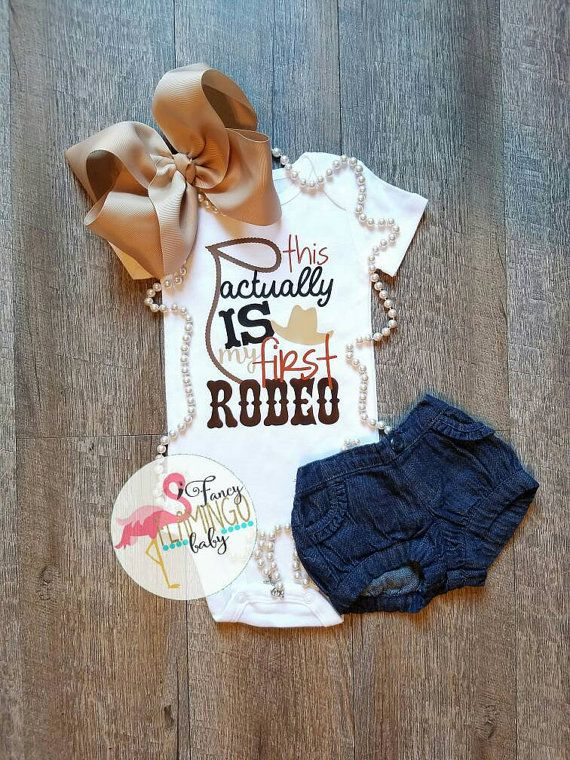 This actually is my first Rodeo cowgirl cowboy roping bronco riding barrel racing hat  baby girl boy toddler onesie bodysuit tshirt Birthday