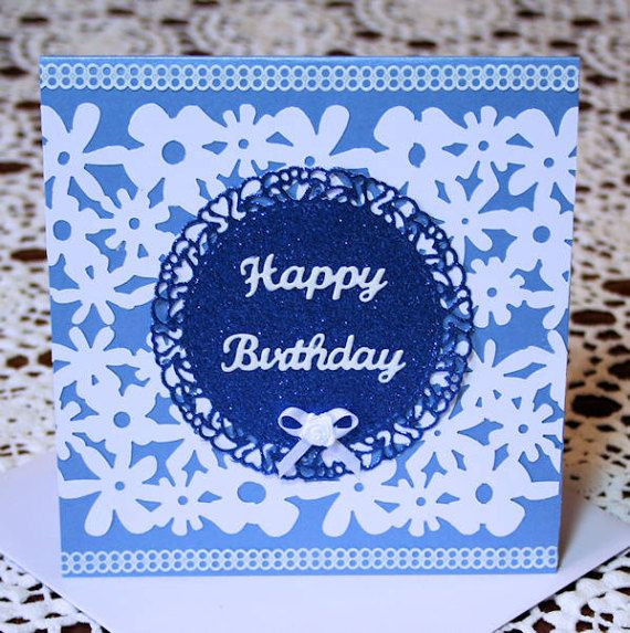 Happy Birthday Blue and White Pearlescent by CardsbyCoralJean