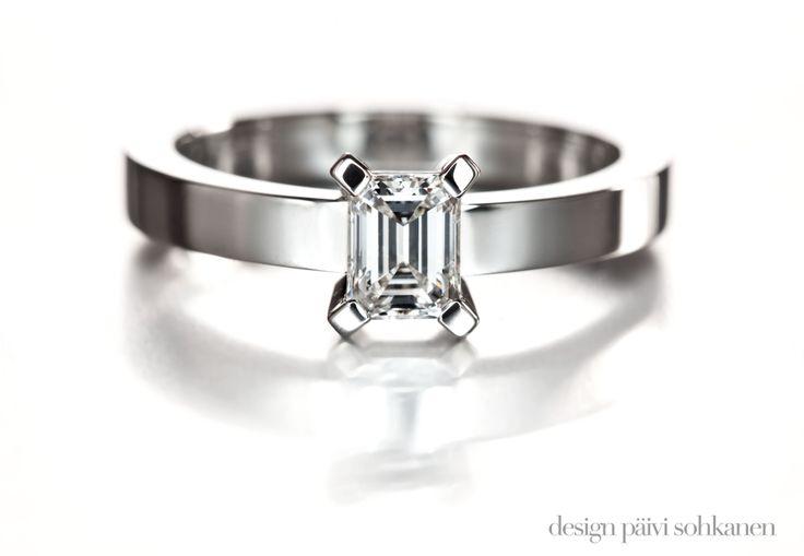 Diamond ring, emerald cut diamond, white gold 750, Design Päivi Sohkanen Photo: Teemu Töyrylä www.paivisohkanen.fi