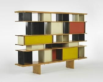 """Charlotte Perriand, Mexique bookcase, from the Maison du Mexique, Cité Universitaire de Paris. Enameled aluminium, white pine, mahogany. France, circa 1952. Charlotte Perriand (1903-1999) is best known for her extensive work with Le Corbusier. As she tells it in her recently published memoirs, Une vie de création, she was so inspired by his Towards and Architecture that she sought him out at his studio and invited him to her show at the Paris """"Salon ..."""