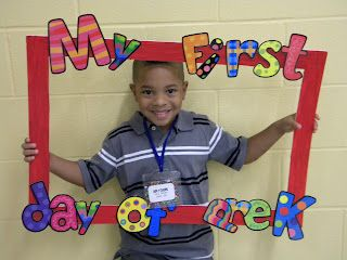 First day of Pre-K frame! Would be fun if you put everything on Velcro then you could take pictures for first day, 100 days, and last day @Dana Curtis Doyle @Rhonda Alp Long