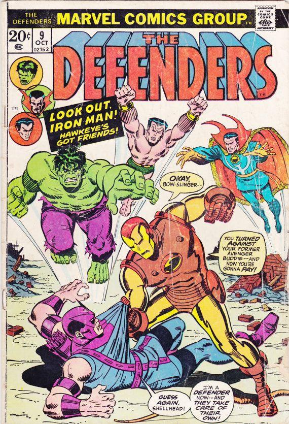 Comic - Defenders 9 - Marvel Comics - Vintage Bronze Age (1973) - The Avengers Vs. the Defenders - The Incredible Hulk, Hawkeye, Iron Man