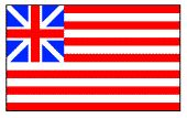 """(Grand Union, 1775). Combining the Meteor flag with the Sons of Liberty flag, this was first raised at sea on December 3, 1775 by John Paul Jones and on land on January 1, 1776, on Prospect Hill (then called Mount Pisgah) in Somerville, Massachusetts, when the Continental Army was mustered into formal existence.  It received its name from a reference as the """"Grand Union Flag"""" in one of George Washington's letters.  Curiously, this flag was never officially sanctioned by the Continental…"""