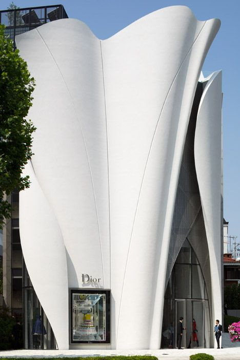 Towering fibreglass panels modelled on the tailoring of Dior clothing envelope the fashion brand's new boutique in Seoul.