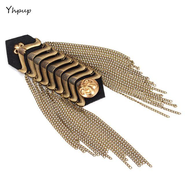 Yhpup Punk Metalen Fashion Vintage Gold Merk Mannen Vrouwen Pak Shirt Schouder Pinnen Epaulette Epaulet Tassel Kleding Accessoires