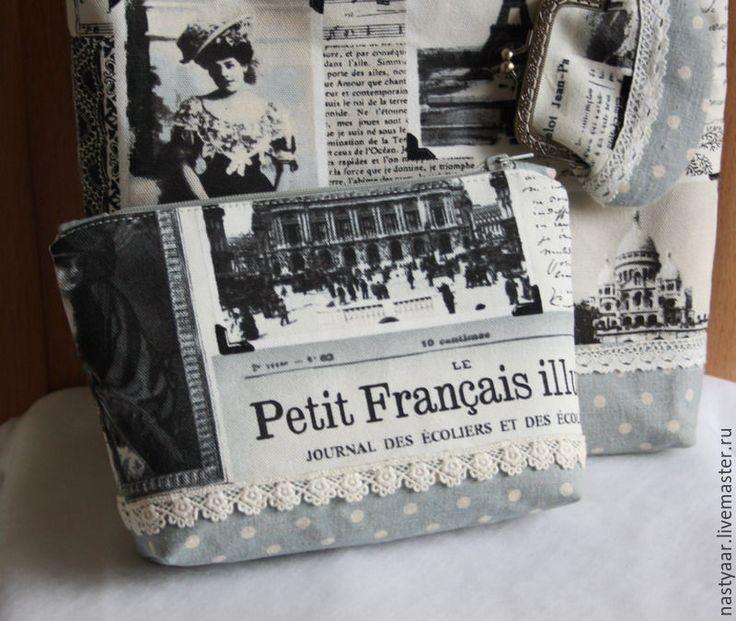 "Купить Косметичка ""Весна в Париже"". - серый, Париж, парижский стиль, косметичка из ткани, косметичка на молнии"