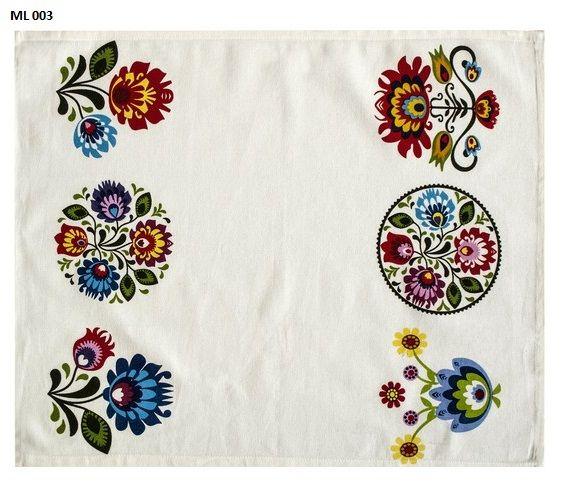 Motyw ludowy ścierki kuchenne koloru białego