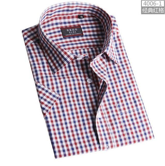 Men's short-sleeved plaid shirt summer new fashion England shirt mens slim fit casual shirts short sleeve shirts male