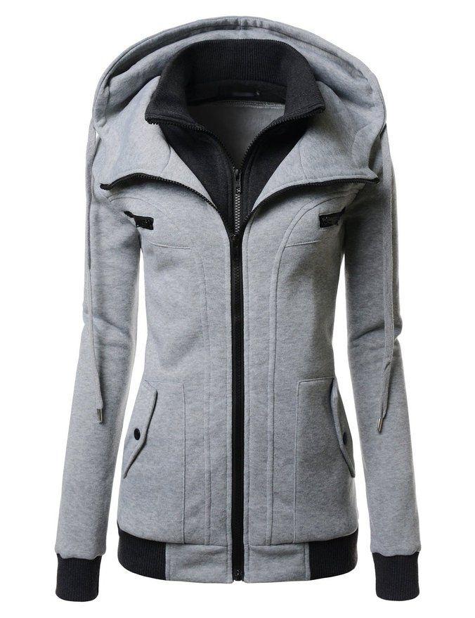 Amazon.com: Nearkin Women Daily Fashion Slim Fit Double Zipup Casual Hoodie Jacket: Clothing