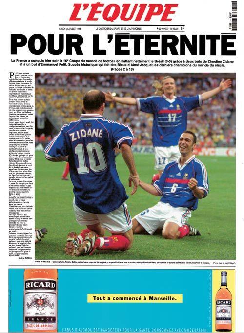Les unes historiques des #Bleus - L'#EQUIPE MAGAZINE - 13 JUILLET 1998
