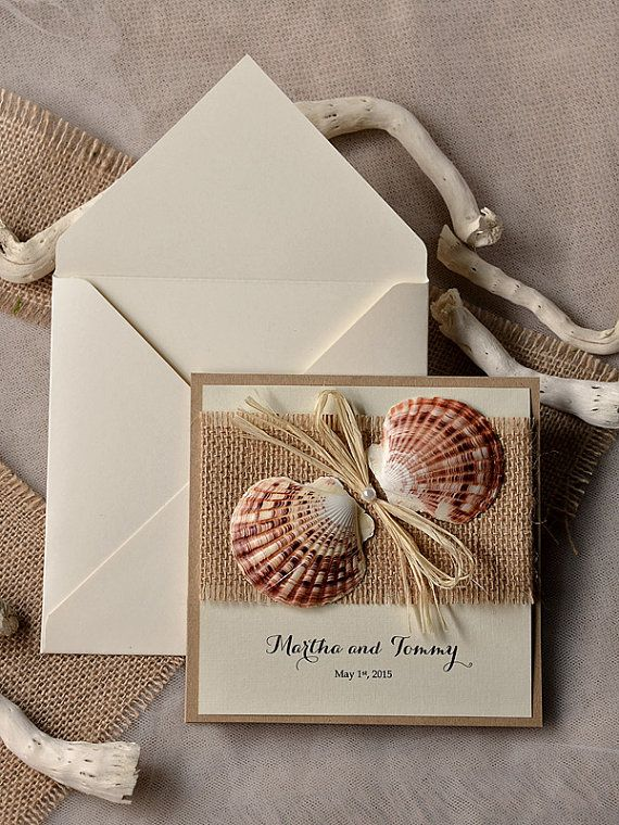 SeaShell Wedding Invitation Beach Wedding by 4LOVEPolkaDots, $6.20