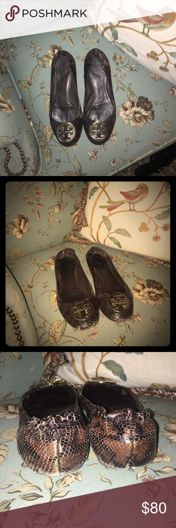 TORY BURCH snakeskin flats! Signs of wear on front, heel, and near big toe joint on the side. Price reflects signs of wear, but still in good used condition! Tory Burch Shoes Flats & Loafers