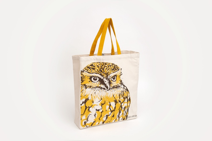 Cherith Harrison - Owl. A striking yellow and brown print on a 10oz natural canvas bag, with matching yellow handles, by Edinburgh designer Cherith Harrison