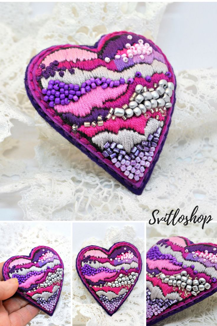 Valentine heart gift Beaded felt brooch pin Modern embroidery art Unique brooch Hand embroidery jewelry Gift for her for mom for girlfriend USD 24.32