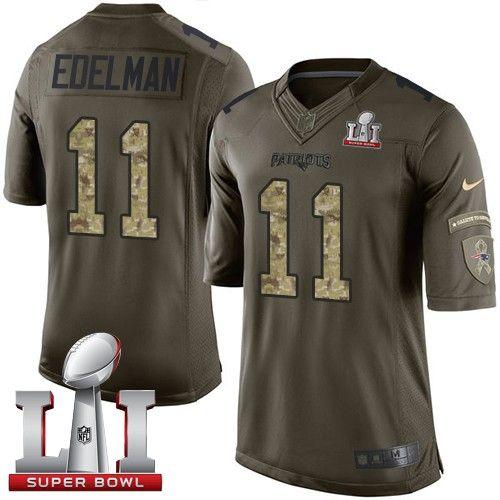 Men's Nike New England Patriots #11 Julian Edelman Limited Green Salute to Service Super Bowl LI 51 NFL Jersey