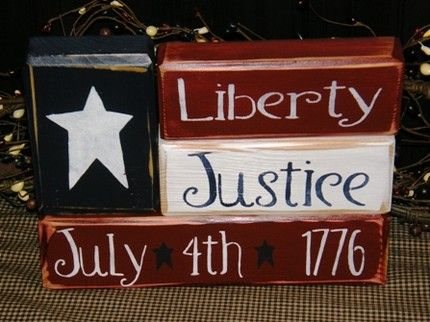 4th of july signs | AMERICAN FLAG LIBERTY JUSTICE JULY 4th 1776 wooden letter block sign ...
