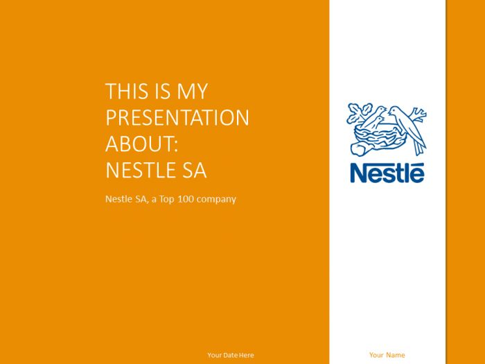 Free Nestlé PowerPoint template with orange and white colors.