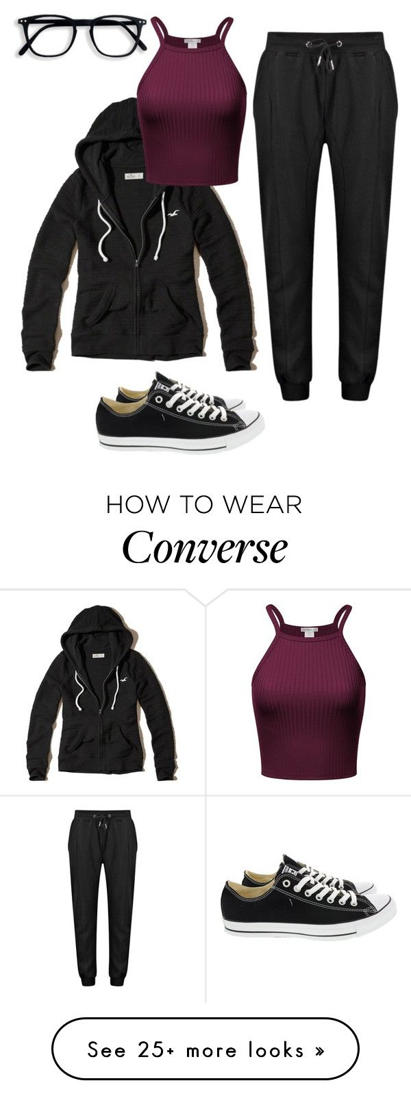 """""""Lazy Day"""" by litm0115 on Polyvore featuring Hollister Co., Converse, lazy, workout and glasses"""