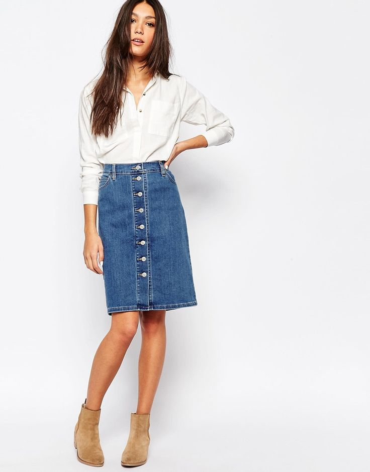 Best 25  Button down denim skirt ideas on Pinterest | Denim skirt ...