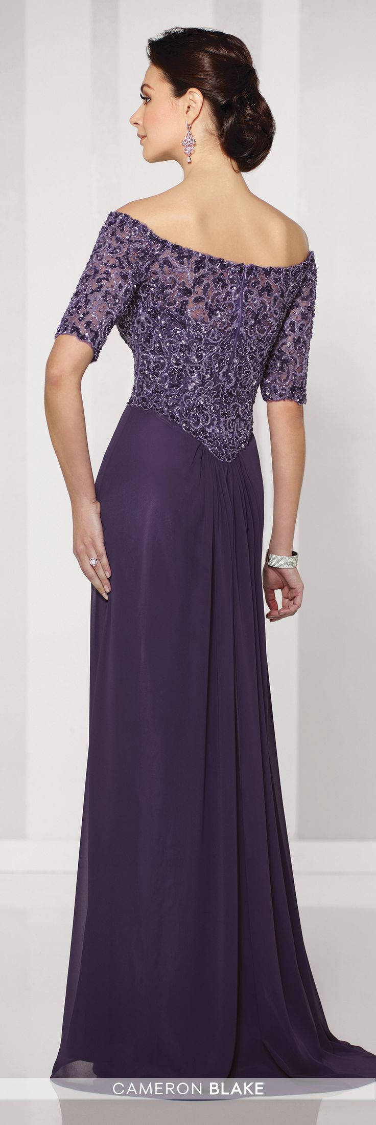 Formal Evening Gowns by Mon Cheri - Fall 2016 - Style No. 216687 - purple chiffon evening dress with off the shoulder beaded bodice and elbow length sleeves