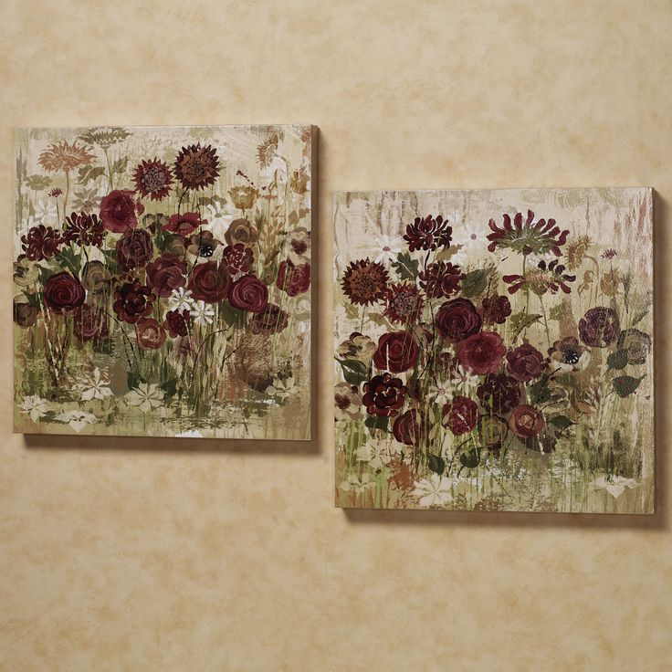 floral frenzy canvas art burgundy set of two floral art on canvas wall art id=54514