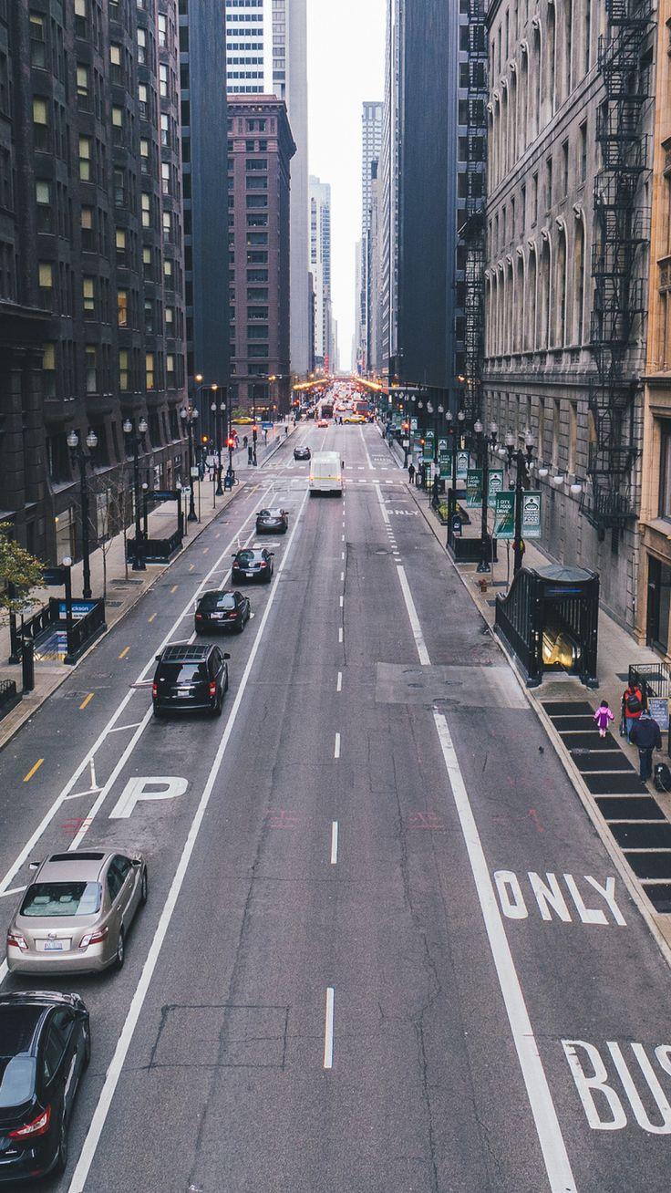 chicago, skyscrapers, street, sky, marking