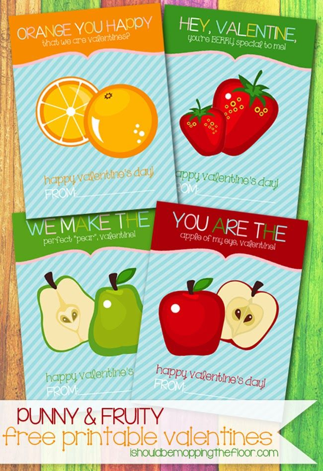 Punny Fruit Free Printable Valentine's