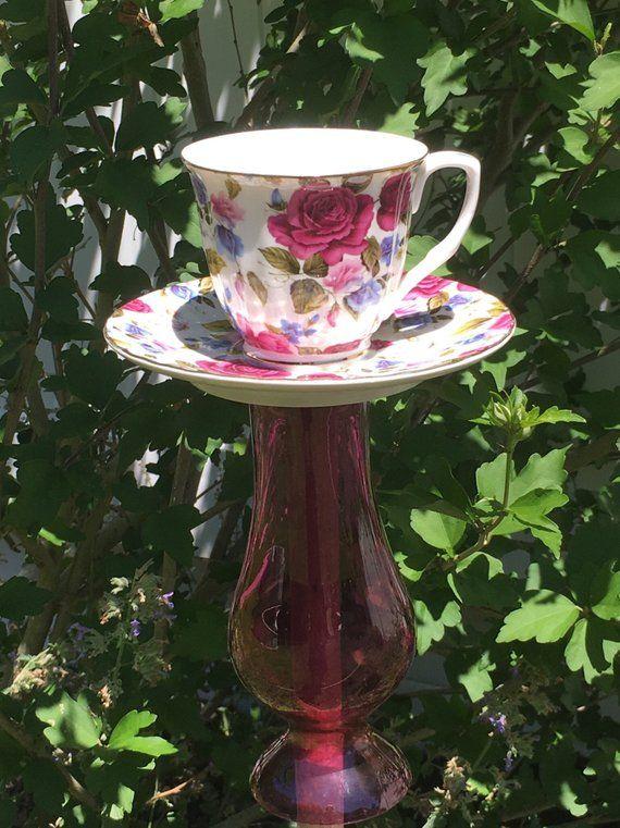 Floral teacup garden decor - whimsical bird feeder garden stake