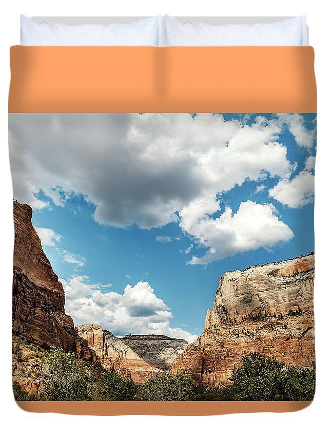 Duvet Cover featuring the photograph Scenic Mountains by Evgeniya Lystsova. Landscape of colorful red rock peaks and white clouds on the sky at Zion National Park, Utah. Our soft microfiber duvet covers are hand sewn and include a hidden zipper for easy washing and assembly. Your selected image is printed on the top surface with a soft white surface underneath. All duvet covers a machine washable. Click through my gallery to choose the one you like!