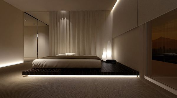 Bedroom with private area by Oporski Architektura, via Behance
