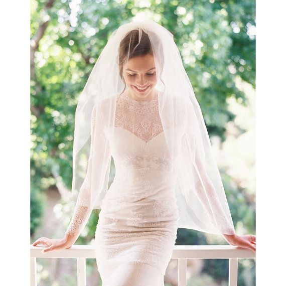 @Diane Z Thompson ~~~ yes no maybe so? Bridal veil fingertip veil wedding veil by EricaElizabethDesign, $105.00