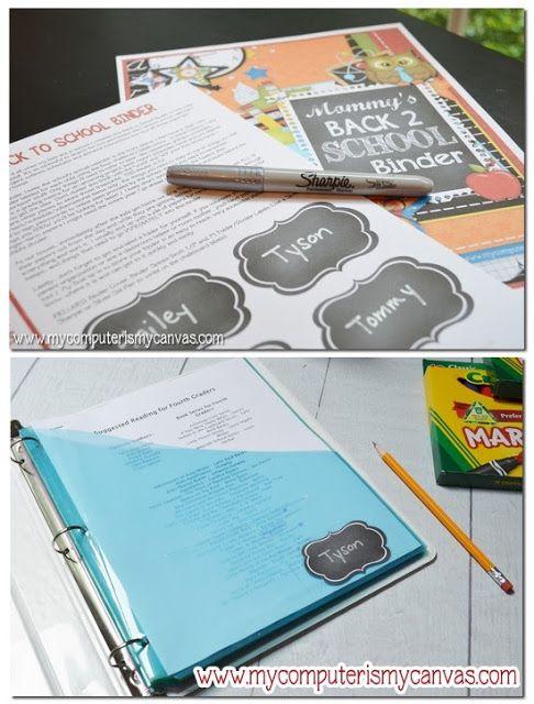 My Computer is My Canvas: {FREEBIE} Back to School Binder Printables