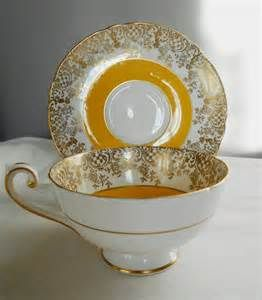 RARE yellow tea cup and saucer set vintage by ShoponSherman
