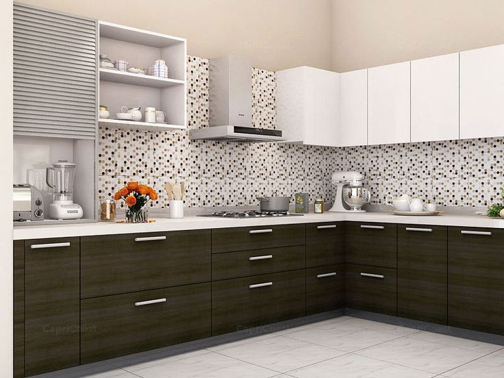 L-Shaped Vesper Modular Kitchen on CapriCoast is fulfilled by SpaceWood and comes with MDF cabinets, MDF shutter core and Membrane Matte finish in Irish Creame, Slate Grey, Viking Teak