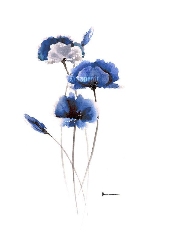 Hey, I found this really awesome Etsy listing at https://www.etsy.com/listing/214253216/blue-poppies-abstract-art-print-of-my