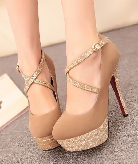 Strappy Brown Metallic High Heel Shoes