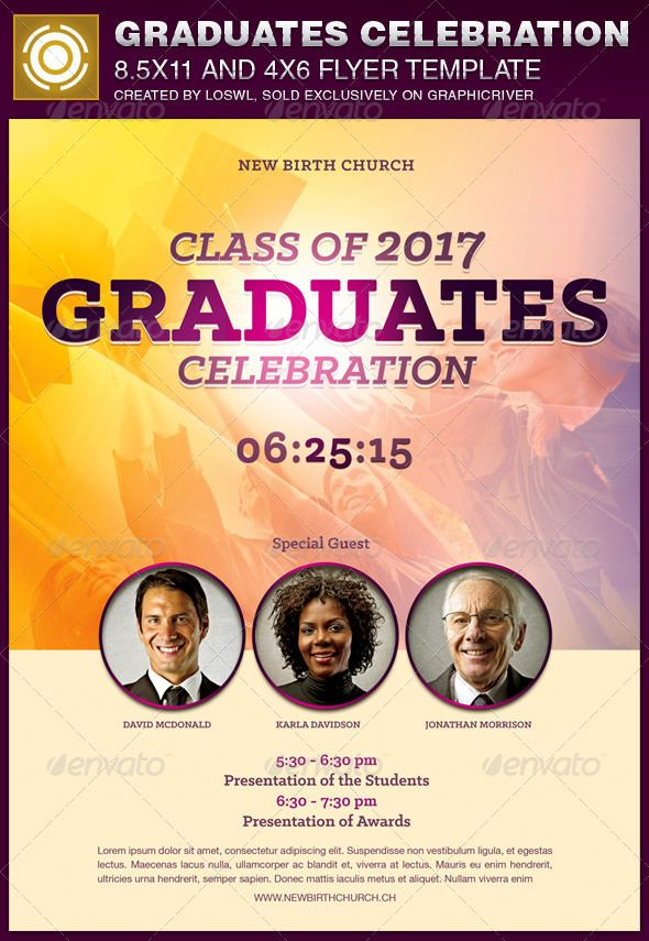 The Graduates Celebration Church Flyer Template is sold exclusively on graphicriver, it can be used for your Graduation Celebration, Church Events, Gospel Concert, etc, or for any other marketing projects. The file includes 2 High Resolution Flyers with several color options for easy editing.