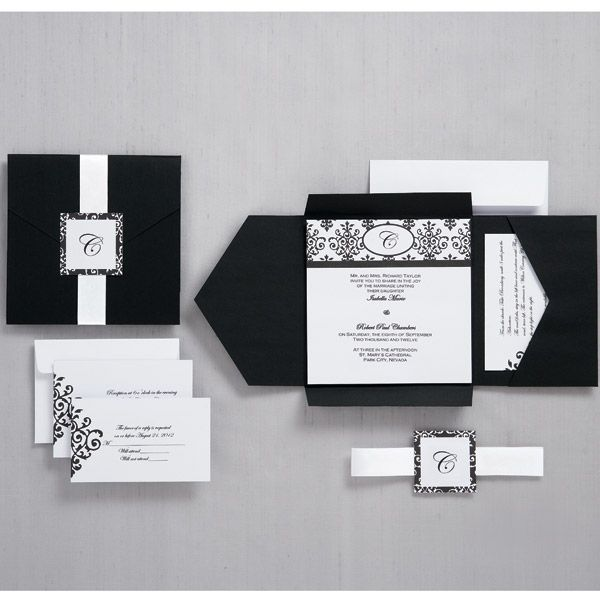 Wilton   Wedding Stationary   Black And White Scroll Monogram Pocket  Invitation Kit