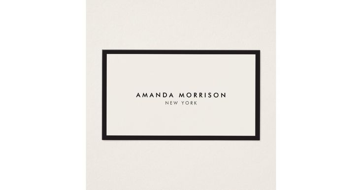 An elegant and refined design elevates your name or business name through minimal and modern styling. The thin black border is grounded on an ivory background to give a luxury feel to this classic business card design template. ©1201AM CREATIVE