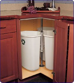 Trash Recycling Cans In Corner Cabinet Spin Like Lazy