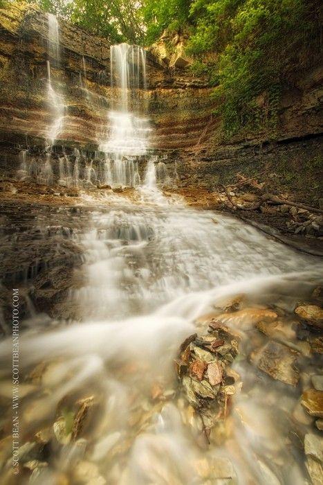 Waterfalls at the Geary County Lake near Junction City, Kansas, USA
