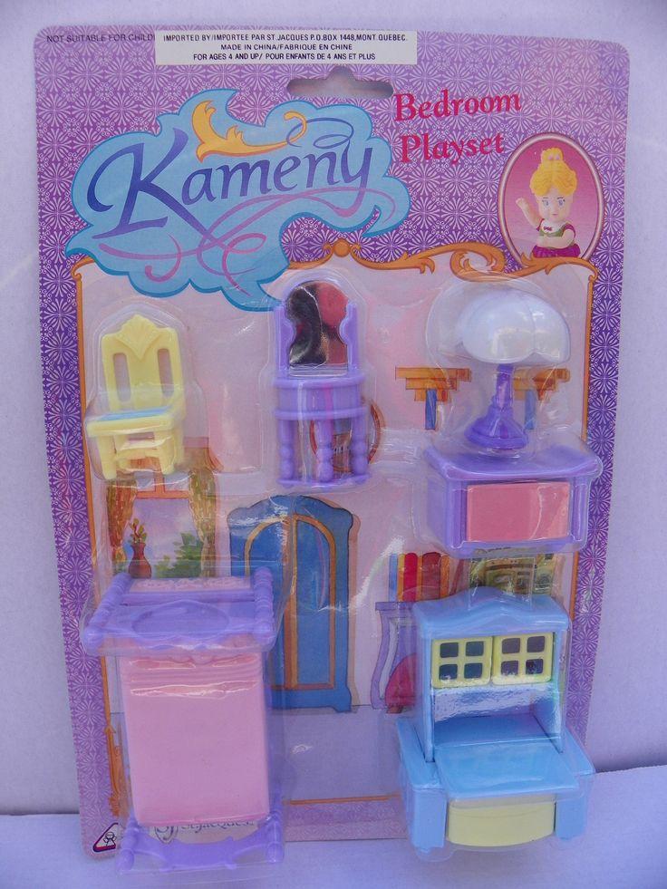 Vintage Kameny Dollhouse Furniture Set , 1970's Kameny Plastic Doll House Bedroom Set , Miniature Bedroom , Mini Bed Room , Mini Diorama by ShersBears on Etsy