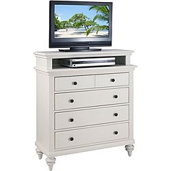 Shop for Home Styles Bermuda TV Media Chest Brushed White Finish. Get free shipping at Overstock.com - Your Online Furniture Outlet Store! Get 5% in rewards with Club O! $309.99 ·Materials: Mahogany solid, engineered woods  ·Finish: Brushed white  ·Features:  ·British traditional and old world tropical design ·Shutter style design and turned feet ·Four storage drawers with top storage drawer lined in black felt ·Antique brushed nickel hardware ·Dimensions: 36 inches wide x 18 inches deep x…